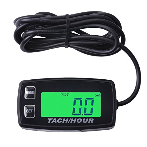 Runleader RL-HM035R Inductive tachometer with hour meter backlit display for all gasoline engine ATV UTV dirtbike motobike motocycle outboards snowmobile pitbike PWC marine boat waterproof (Inductive Tachometer Motorcycle compare prices)