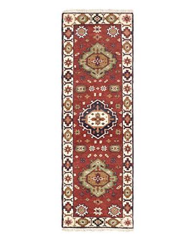 Hand-Knotted Royal Kazak Wool Rug, Dark Red/Ivory, 2' 2 x 6' 7 Runner