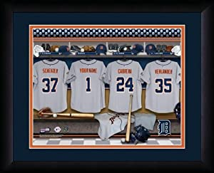 MLB Personalized Locker Room Print Black Frame Customized Detroit Tigers by You