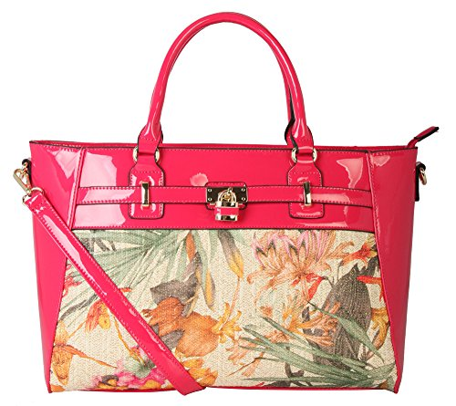 diophy-pu-leather-floral-weave-patent-top-style-large-tote-womens-purse-handbag-fl-2956-fuchsia