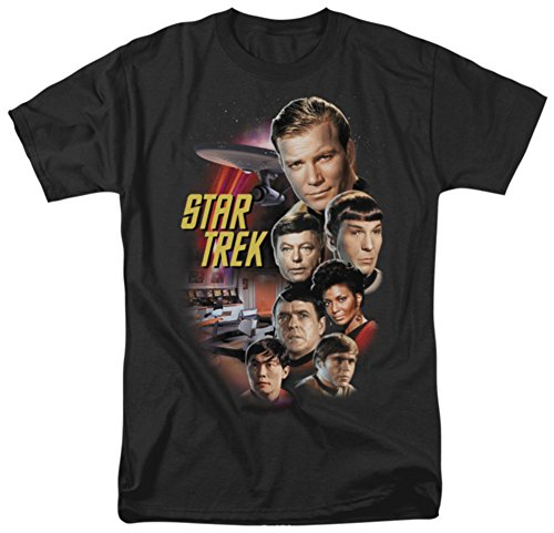 Star Trek USS Enterprise Original Series Crew James T Kirk, Spock, Bones, Uhura & Chekov T-Shirt XL