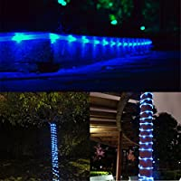 MeiKee 100 Leds Solar Rope Lights, 33ft, Blue,Outdoor Waterproof LED Solar Rope Lights , Christmas Lights, Ideal for Decorations, Christmas,Gardens, Lawn, Patio, Weddings, Parties.[Energy Class A+] from MeiKee