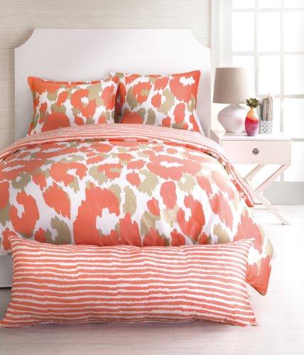 Trina Turk 3-Piece Lynx Leopard Comforter Set, Queen, Orange