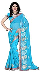 Shree Creation Women's Chiffon Saree with Blouse Piece (Blue)