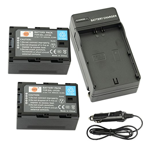 DSTE® 2x SSL-JVC50 Rechargeable Li-ion Battery + DC164 Travel and Car Charger Adapter for JVC HM600 650 GY LS300