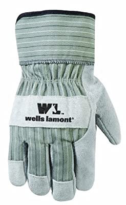 Wells Lamont 4100 Wing Thumb, Reinforced Palm Patch Work Glove with Suede Pearl Cowhide Safety Cuff