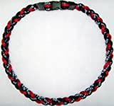 Titanium Tornado Baseball Necklace Red Black 18""