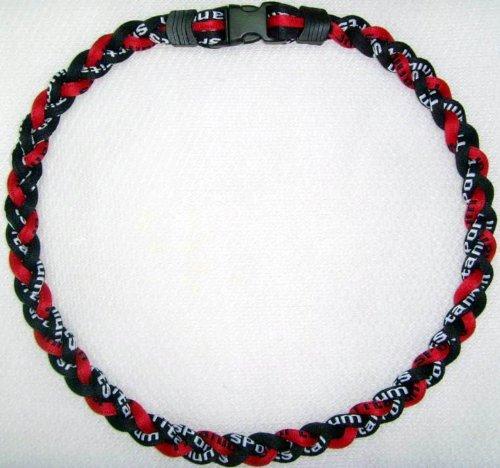 Titanium Tornado Baseball Necklace Red Black
