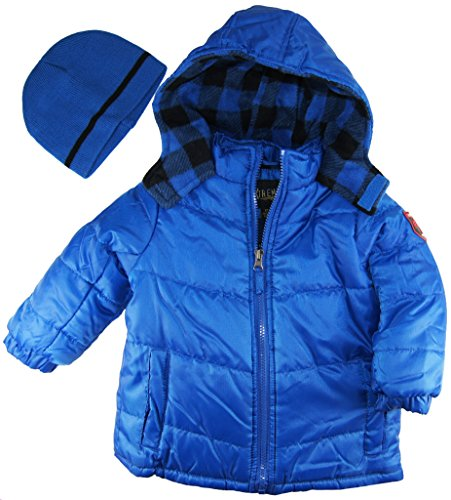 Ixtreme Little Boys Solid Puffer Hooded Winter Jacket With Hat Set, Royal, 4T front-1066975
