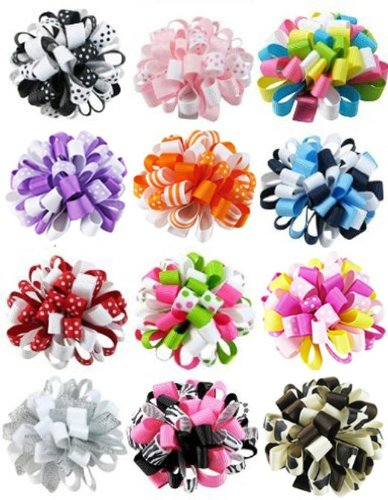 Check Out This HipGirl Boutique Girls Loopy Ribbon Puff Hair Bow Clips/Barrettes Combo