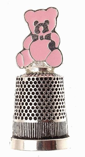 Silver plated Christening gift for a girl - silver plated thimble with enamel teddy design