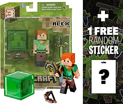 "Overworld Alex ~2.6"" Minecraft Mini Fully Articulated Action Figure Pack + 1 FREE Official Minecraft Mini-Sticker Sheet Bundle from Jazwares"