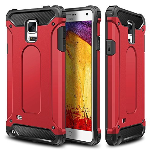 Galaxy Note 4 Case,Wollony Rugged Hybrid Dual Layer Hard Shell Armor Protective Back Case Shockproof Cover for Galaxy Note 4 Case - Slim Fit - Heavy Duty - Impact Resistant Bumper(Red) (Note 4 Protective Phone Case compare prices)