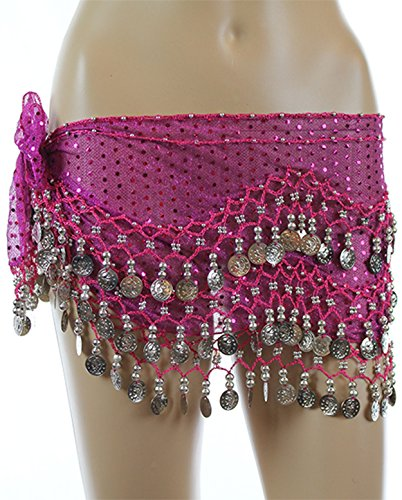 Hot Pink Sequined Silver Coins Rave EDC Belly Dance Skirt Hip Scarf Costume 158 Coins