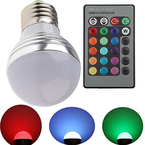 RONSHIN E27 3W LED RGB Lampe Birne SMD LEDs LED farbwechsel Globeform Licht mit IR-Fernbedienung (AC 85 - 265V) - 16 multicolors inklusive - Ferbedienung Licht LB00017