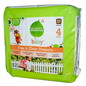 Baby, Free & Clear Diapers, Size 4, 22-37 Pounds, 27 Diapers