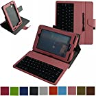 Mama Mouth Rotary Stand PU Leather Case Cover With Removable Micro USB Keyboard for 7 Verizon Ellipsis 7 4g LTE Tablet Pink