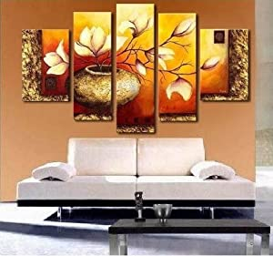 100% Hand Painted Art Abstract Art Canvas Art 5 Piece Wall Art Flower in Vase Oil Painting Deco Home Decoration (Unstretch No Frame)