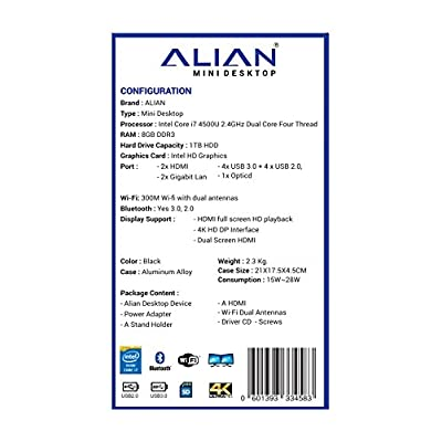 ALIAN MINI DESKTOP PC Windows 8.1, Intel i7 4500U, Intel Core i7 4500U, 500 MB Graphics Card, 8 GB DDR3, 1000...