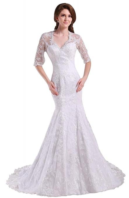 GEORGE BRIDE Mermaid Lace 3/4 Length Sleeves Wedding Dress
