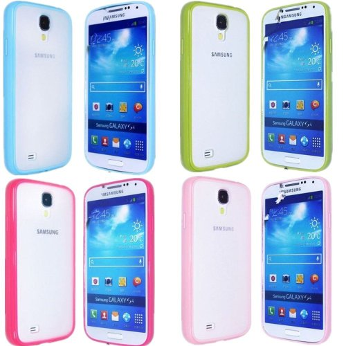 Vandot Mobile Phone Accessory 4In1 For Smasung Galaxy S4 I9500 Smartphone 4X Hybrid Protective Hard Matt Back Case Cover Soft Silicone Tpu Skin Shell Bumper- Green Blue Pink Rose
