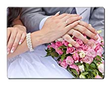 buy Liili Placemat Kitchen Table 15.8 X 12 X 0.2 Inches Hands Of A Newly Married Couple With Rings On A Wedding Bouquet Image Id 11688831