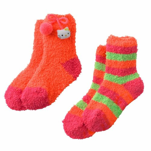 Girls Hello Kitty Fuzzy 2 Pack Slipper Socks, Orange, Size 6-8.5