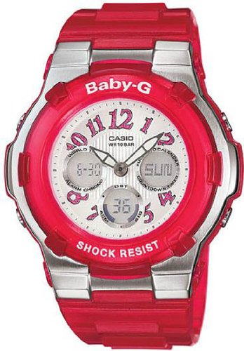 Casio Baby-G World Time Alarm Chrono - Perpetual Calendar - Red Resin Band