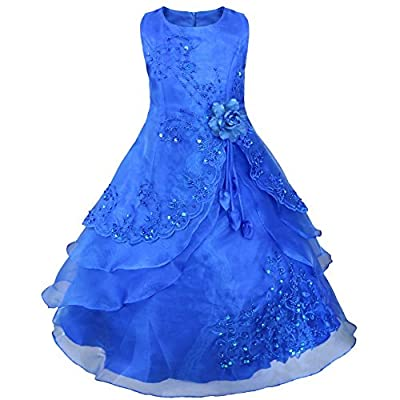 TIAOBU Girls Embroidered Flower Wedding Party Bridesmaid Princess Gown Dress