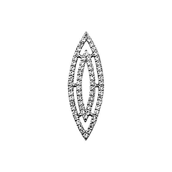 18k white gold pendant zircons shuttle [AA4588]