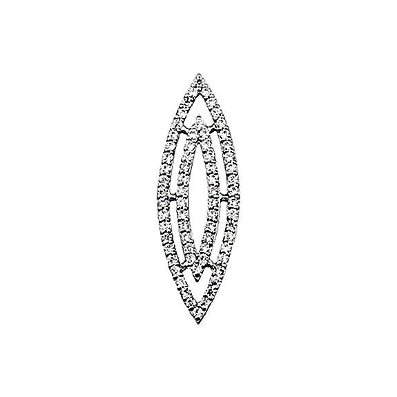 18k white gold pendant zircons shuttle [AA4588]