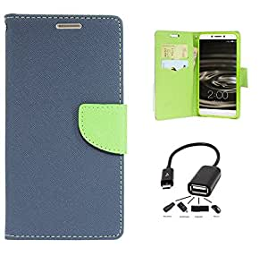 Relax And Shop Royal Diary Style Flip Cover With OTG Cable For Samsung Galaxy Mega 5.8 GT9152/ 9150 - (Royal Blue + OTG Cable)