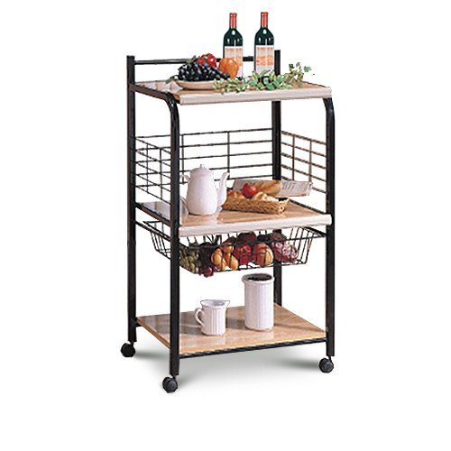 Black Microwave Cart With Two Shelves & Wheels (2 Shelf Microwave Cart compare prices)