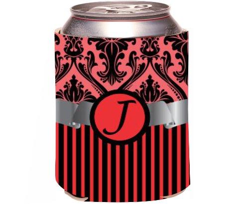 "Rikki Knighttm Letter ""J"" Initial Red Damask And Stripes Monogrammed Design Drinks Cooler Neoprene Koozie front-616220"