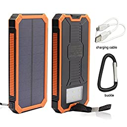 Solar Charger, 12000mAh Portable Solar Powered Phone Charger Dual USB Solar External Battery Pack Power Bank for Cellphones With Solar LED Lights For Emergency or As A Camping Light (Orange)
