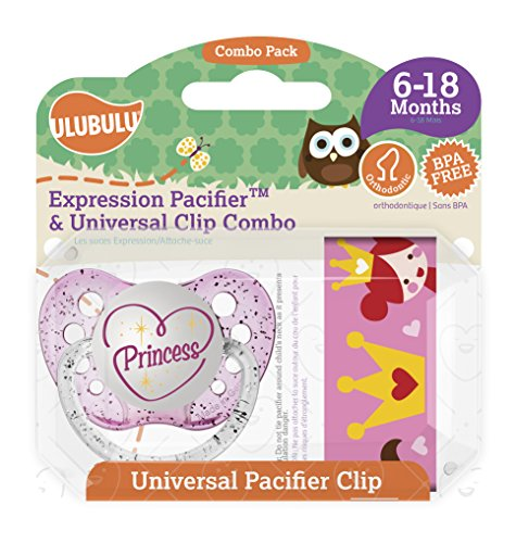 Ulubulu Princess Pacifier with Universal Pacifier Clip, 6-18 months