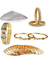 The Luxor Attractive Gold & Silver Plated Bangles Set Gift For Women