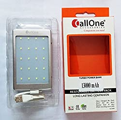 CallOne Turbo Solar Charging Power Bank 13000 mAh with LED Torch Light (Grey Color)