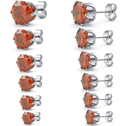 Konov Jewelry Womens Cubic Zirconia Stainless Steel Round Stud Earring Set, 3-8Mm 6 Pairs, Red