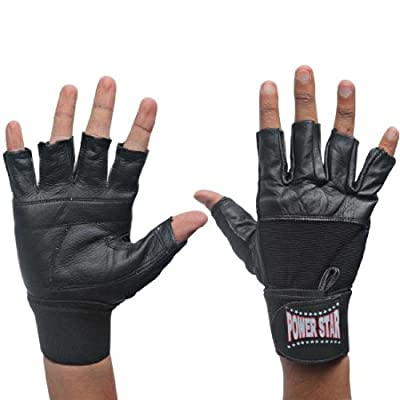 Real Leather Weightlifting Bodybuilding Gym Training Gloves Medium and X-Large with Wrist Straps Fitness Exercise for men. from Power Star