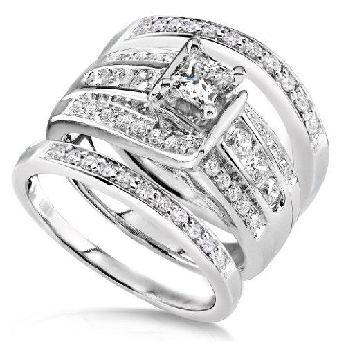 1 1/10 Carat TW Princess Diamond 3-Ring Bridal Set in 14k White Gold