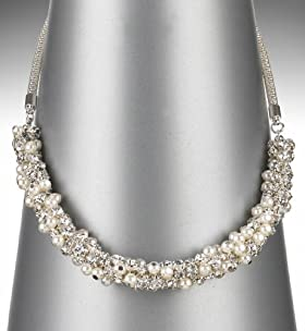 Faux Pearl Diamanté Collar Necklace