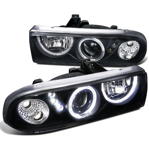 Spec-D Tuning LHP-S1098JM-RS Chevy S10 Blazer Pickup Black Halo SMD LED DRL Projector Headlights (S10 Headlight Assembly compare prices)