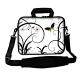 14 inch Brilliant Butterfly Escape White Floral DOUBLE Sided Print Dual Compartment Laptop Carrying Case Notebook Slipcase Bag Netbook Sleeve Cover for Apple PowerBook Dell HP