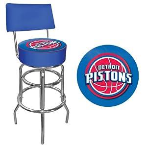 NBA1100-DP-Detroit Pistons NBA Padded Swivel Bar Stool with Back by Trademark