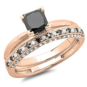 1.50 Carat (ctw) 10K Rose Gold Princess Cut Black & Round White Diamond Ladies Bridal Solitaire Engagement Ring With Matching Millgrain Wedding Band Set 1 1/2 CT (Size 7)
