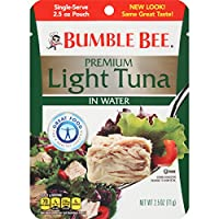 Bumble Bee Premium Light Tuna in Water, 2.5 Ounce Pouches (Pack of 12)