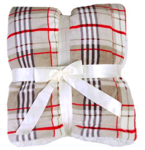 Fleece Throw Blanket For Travelers - Plaid Design - Khaki