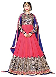 Shoppingover Indian Ethanic Anarkali Suit Georgette Fabric-Pink Color