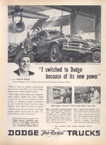 Dodge Job-Rated New Power 2 Ton Truck Ad 1953